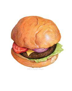 Cheeseburger Painting // Food Illustration // by KendyllHillegas