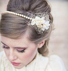 Wedding Hair Vintage Romance Pearl Headband or Wedding Tiara with Birdcage Netting, Pearl Wedding Headband, Vintage Bridal Headpiece