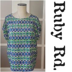🎉30% OFF BDLS🎉 Ruby Rd. colorful top Ruby Rd. Colorful top. Blue, white, black, green. Short sleeved. Button on sleeves. Aztec type print. Great for summer! Tops