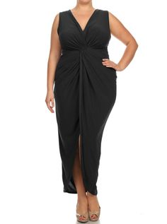 Plus Size Luring Knot Front Black Maxi Dress, Plus Size Clothing, Club Wear, Dresses, Tops, Sexy Trendy Plus Size Women Clothes