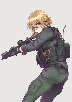 #anime #girl #operator #tactical #blonde #hair #red #eyes #glasses #soldier #uniform #assault #rifle #m4a1