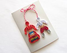 Baba Marta Card, Martenitsa Card, Quilling Card with Bulgarian White Red Dolls Baba Marta, Red Dolls, Wedding Mugs, Vintage Marketplace, New Things To Learn, Cute Cards, Quilling, Origami, Drop Earrings