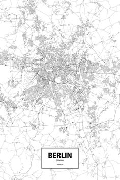 An intricate poster of Berlin, Germany poster outlined only by its roads in beautiful detail. City Map Poster, Poster Wall, Map Posters, Berlin Photography, Globe Decor, Map Wall Decor, Black And White City, Berlin City, Paris Map