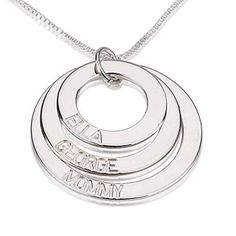 Sterling Silver Mother  Grandmother Necklace with Engraved Kids Names 25 Discs 3 Disks ** To view further for this item, visit the image link.Note:It is affiliate link to Amazon.