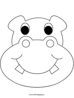 Coloring Pages Animal Masks New Hippopotamus 95 Animals – Printable Coloring Pages – Friedpost Coloring Animal Mask Templates, Printable Animal Masks, Hippo Crafts, Felt Crafts, Animal Masks For Kids, Mask For Kids, Quiet Book Patterns, Felt Patterns, Accessoires Photobooth