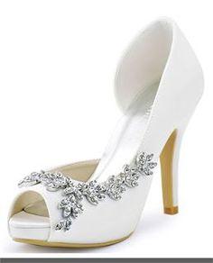 White Wedding Shoes ElegantPark Women Peep Toe Platform High Heel D'orsay Bow Rhinestones Satin Wedding Bridal Shoes $52.95 - $59.99