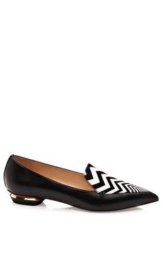 Shop Black Calf And Pointy Zig Zag Vamp Slipper by Nicholas Kirkwood for Preorder on Moda Operandi