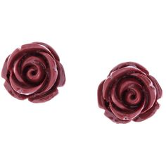 Brooks Brothers Rose Stud Earrings (77 CAD) ❤ liked on Polyvore featuring jewelry, earrings, accessories, brincos, red, burgundy, red jewelry, 14k stud earrings, 14 karat gold earrings and red rose jewelry