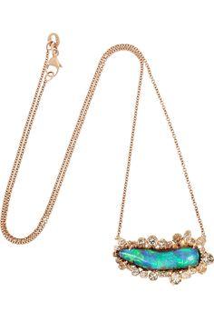 Kimberly McDonald|18-karat rose gold, opal and diamond necklace|NET-A-PORTER.COM
