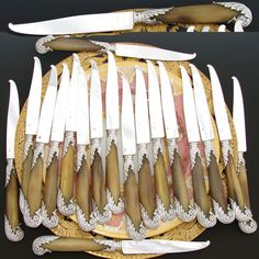 "Antique French PUIFORCAT 18pc Sterling Silver & Horn 8"" Entremet or Dessert Knife Set, Pistol Grip Handles"