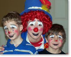 Clown Faces | ... two boys painted in a clown face makeup design like C.C. the Clown