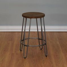 The simple, modern style of the Ace Casual Furniture Quinn Bar Stool makes it perfect for updating your home bar or kitchen counter. This stool features a round wooden seat supported by metal hairpin legs, as well as an integrated footrest ring. 24 Inch Bar Stools, Swivel Counter Stools, Kitchen Stools, Kitchen Decor, Kitchen Ideas, Find Furniture, Kitchen Furniture, Backless Bar Stools, Metal Stool