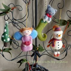 Needle felted Cat stocking/ Snowman/ Angel/ Winter tree handmade OOAK Christmas ornaments( Each sold individually)