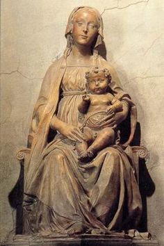 Benedetto da Maiano (Italian, Early Renaissance Sculptor, 1442-1497) ~  Also known as: Benedetto di Leonardo ~  Madonna and Child 1487-1502 ~ Marble ~ Strozzi Chapel, Santa Maria Novella, Florence