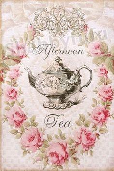 Afternoon Tea print || #vintage #floral #tea_pot