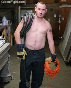 hot electrician working man