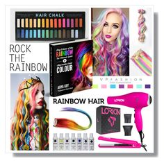 """""""Rainbow Hair"""" by fashion-rebel-chic ❤ liked on Polyvore featuring beauty, Lorion, rainbowhair, polyvoreeditorial and polyvorecontest"""