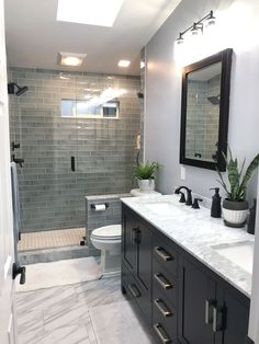"""""""Browse photos of Small Master Bathroom Tile Design. Find suggestions and inspiration for Small Bathroom Tile Design to add to your own house. Bathroom Tile Designs, Bathroom Design Small, Bathroom Trends, Bath Design, Toilet Design, Kitchen Design, Vanity Design, Kitchen Layout, Room Kitchen"""