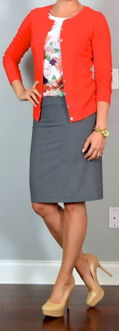 outfit post: grey pencil skirt, floral shirt, red cardigan, nude pumps | Outfit Posts