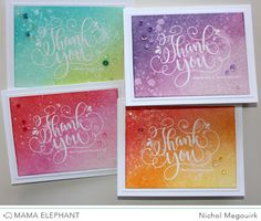 Thank you cards are always needed so when I find a great, versatile thank you greeting set I love to make several at once. The new Thank You Wishes Stamp Set from Mama Elephant has a gorgeous oversize. Thank You Wishes, Thank You Greeting Cards, Handmade Thank You Cards, Beautiful Handmade Cards, Card Making Inspiration, Making Ideas, Copic, Mama Elephant Stamps, Elephant Birthday