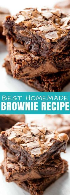 This really is the Best Brownie Recipe ever! These homemade brownies are the perfect chewy fudge squares of chocolate. You'll never buy a boxed brownie mix again! #brownies #chocolate #dessert | Posted By: DebbieNet.com