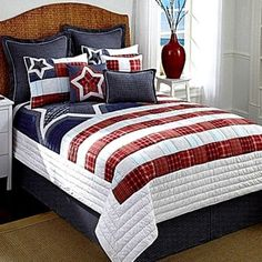 Cremieux 12pc Liberty King Quilt Set Red White Blue American Patriotic USA Star