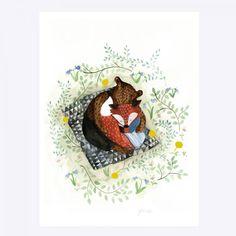 Wow! Något av det tjusigaste vi sett i illustrationsväg finns nu hos oss påVintagefabriken. Illustrationerna är signeradeYrva– eller Ida Ahlgren som hon egentligen heter – och föreställer de sötaste små djuren i charmiga miljöer. Som t ex den här med motiv av en räv och en björn som kramas. Den vackraste av presenter till såväl dop/namngivning som födelsedag. Passar ju självklart precis lika fint att rama in och hänga på väggen i vardagsrummet eller sovrummet! Originalet är främst ska...