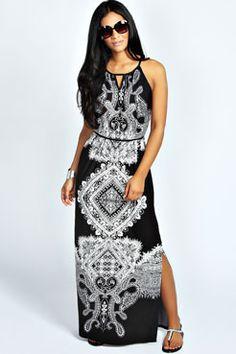 5852256d4d459 Annabelle Keyhole Paisly Maxi Dress at boohoo.com Paisley Print Dress
