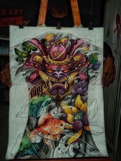 Samurai Warrior Tattoo, Samurai Art, Japanese Tattoo Designs, Japanese Tattoo Art, Asian Tattoos, Tribal Tattoos, Bio Organic Tattoo, Hanya Tattoo, Back Piece Tattoo