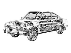 Škoda 110 R (Type - probably illustrated by Terry Davey Technical Drawing, Cutaway, Line Art, Illustrators, 1970s, Technical Illustrations, Type, Cars, Mood