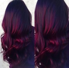 Red Velvet balayage-- dark roots with vibrant burgundy ends. Done by Renée Spinale at The Dollhouse.