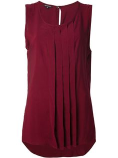 Sleeveless burgundy blouse - I like the color and the pleats!