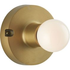 CB2 Brass Flush Mount Lamp ($50) ❤ liked on Polyvore featuring home, lighting, ceiling lights, outdoor light, flush-mount ceiling light, flush mount ceiling lights, outdoor ceiling lights and outside light