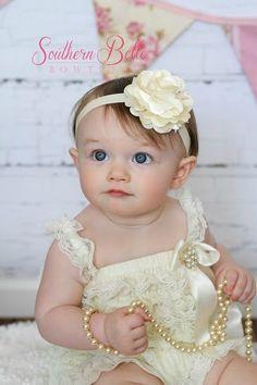 Baby headband, infant headband, newborn headband - ivory / cream satin tulle LARGE flower headband