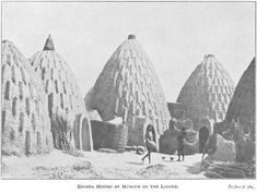 "The traditional dwellings of the Musgum tribe in Cameroun consisted of sun-dried mud huts of a shell shape. Each domestic structure (also called ""obus"", or ""beehive type"") was 3 to 9m high, needed 6 months to be built out of mud, thatch, water and simple tools and was ornamented by many inverted..."