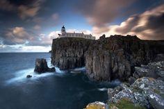 Neist Point Lighthouse on Isle of Skye in Scotland