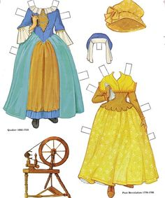 Colonial Americafree paper dolls The International Paper Doll Society from Arielle Gabriel