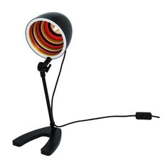 A funky and retro style desk lamp in matte black with coloured inner shade, great for living rooms and bedrooms. Desk Lamp, Table Lamp, Sgt Pepper, Retro Lighting, Inline, Geometric Shapes, Matte Black, Make It Simple, Color Pop