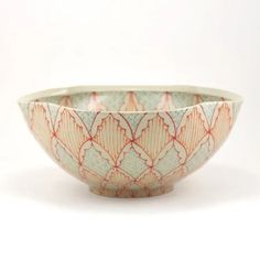 Ceramic Serving Bowl with Red, Orange and Turquoise Pattern