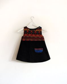 Tribal red and black girl dress by GabardineCouture on Etsy