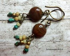 Earthy, Beautiful Earrings, Agate, Czech Glass, Copper by Salakaappi on Etsy