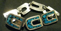 Sterling Silver  Turquoise   Bracelet Mexico Taxco  Inlay Horse Shoe Link 6 5/8  #Taxco