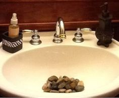 add rocks to sink to give your bath a spa look. I will have to look into the sanitary conditions of these rocks in my sink though....
