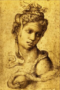MichelAngelo - Renaissance - Drawing - Cleopatra: one of the few authenticated drawings of Michelangelo. It was drawn for Tommaso de' Cavalieri, a young artist that Michelangelo passionately loved. Michelangelo, Ancient Aliens, Academic Drawing, High Renaissance, Berber, Western Art, Art Plastique, Famous Artists, Oeuvre D'art