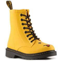 Dr. Martens Hincky Drench Rain Boot ($110) ❤ liked on Polyvore featuring shoes, boots, wellington boots, wellies shoes, wellies boots, rubber boots and dr. martens