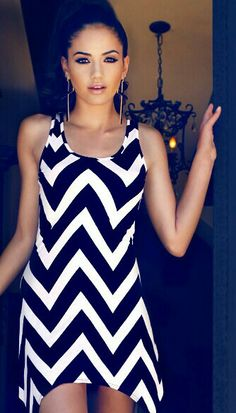 Black and white chevron patterned dress