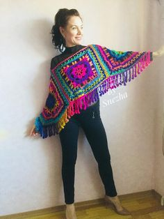 Rainbow Poncho Pride Women, Crochet outlander Triangle Shawl Wraps Fringe, Plus size Festival Vegan, Mom-Birthday-Gift-from-Daughter Rainbow poncho pride women crochet outlander triangle scarf poncho 1 Cardigan Au Crochet, Poncho Shawl, Crochet Poncho Patterns, Crochet Shawls And Wraps, Knitted Poncho, Knit Crochet, Shawl Pin, Crochet Blouse, Triangle En Crochet