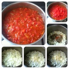 In a deep sauce pan,add 2medsized onions(chopped),4-6 cloves garlic(sliced cross-wise),2-3Tbsp cooking oil(olive or rice bran); cook over lowmed heat for 3-5 minutes until softened but not browned;add 3-4 tsps of salt-free Italian herb blend (basil, marjoram, oregano, sage, thyme)1tsp of fine,dry chilli flakes (optional, although totally worth it).Cook for another min.Then add 4tins of diced tom and stew over low heat for40 minutes, adding a little (half cup) water if sauce becomes too…
