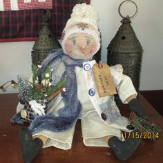 Primitive Christmas Winter Folk Art Snowman/ by WillowCreekPrims