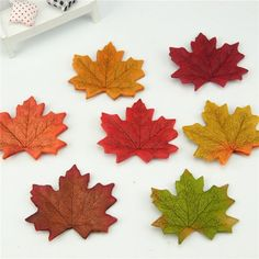20Pcs/lot Artificial Silk Maple Leaves Multicolor Fake Flower Leaf For Scrapbooking Wedding Party Decoration Scrapbooking Craft